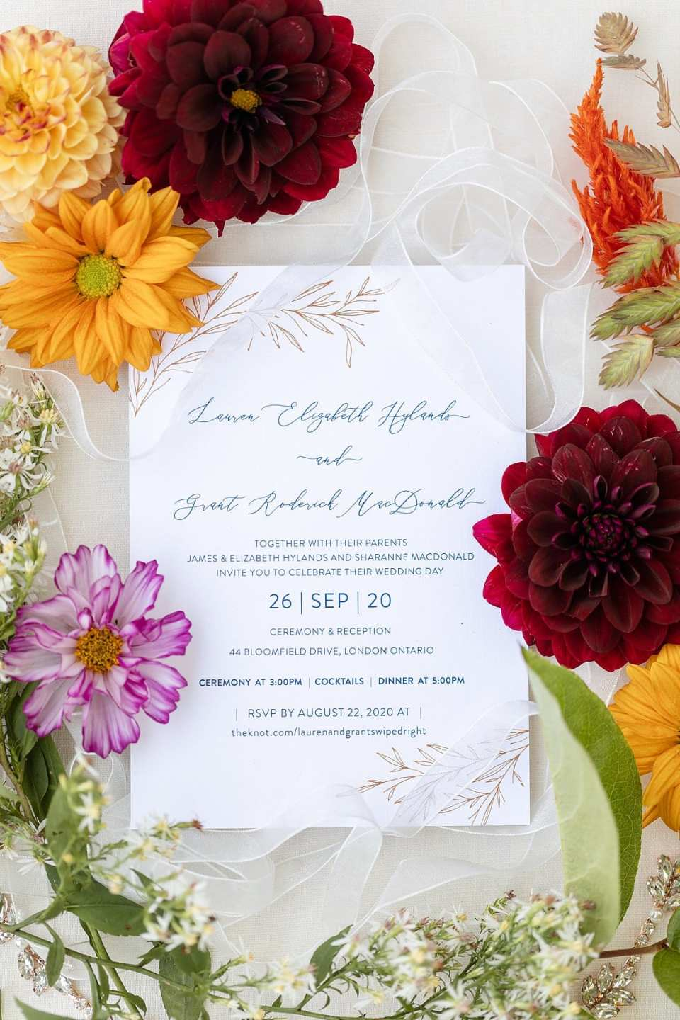 Wedding day invitation surrounded by colourful flowers