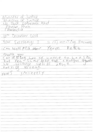 Letter for Yorm Bopha