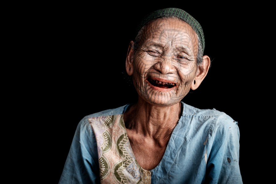 Myanmar Tattoo Faced Woman Si Coung