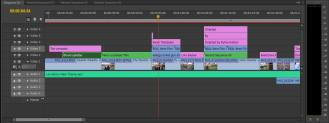 This screenshot shows the layering required for the overlays in the characers titles, and that the audience would be able to see both the overlay and the footage clearly.