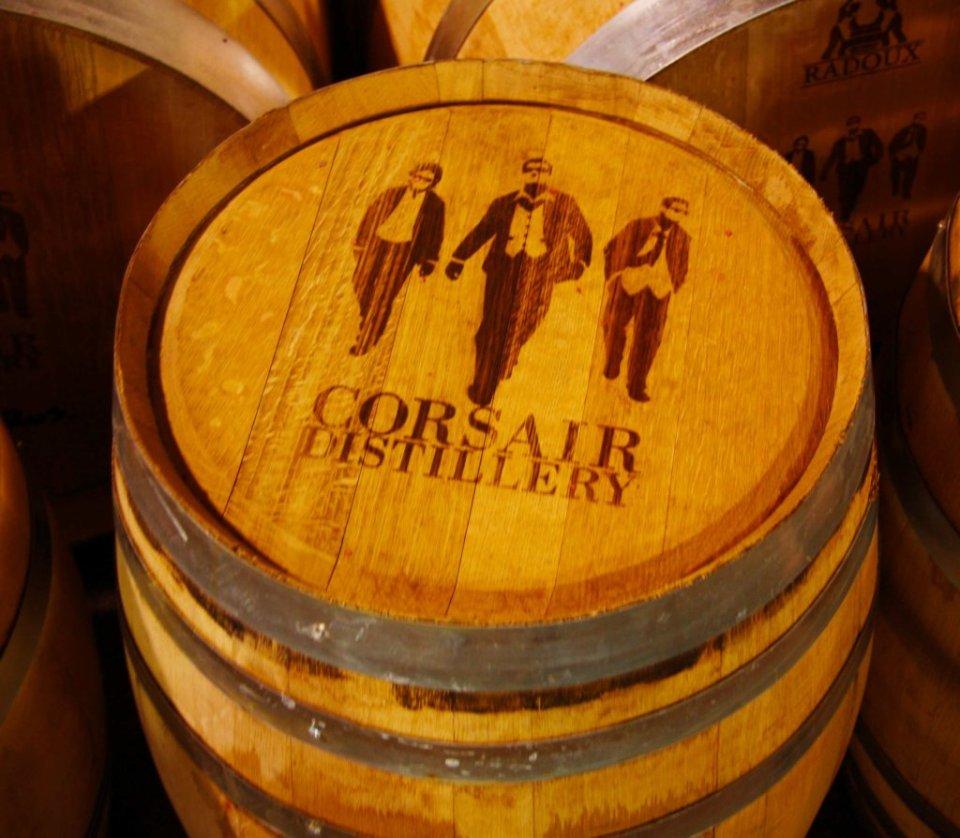 Top of barrel with the Corsair Distillery logo