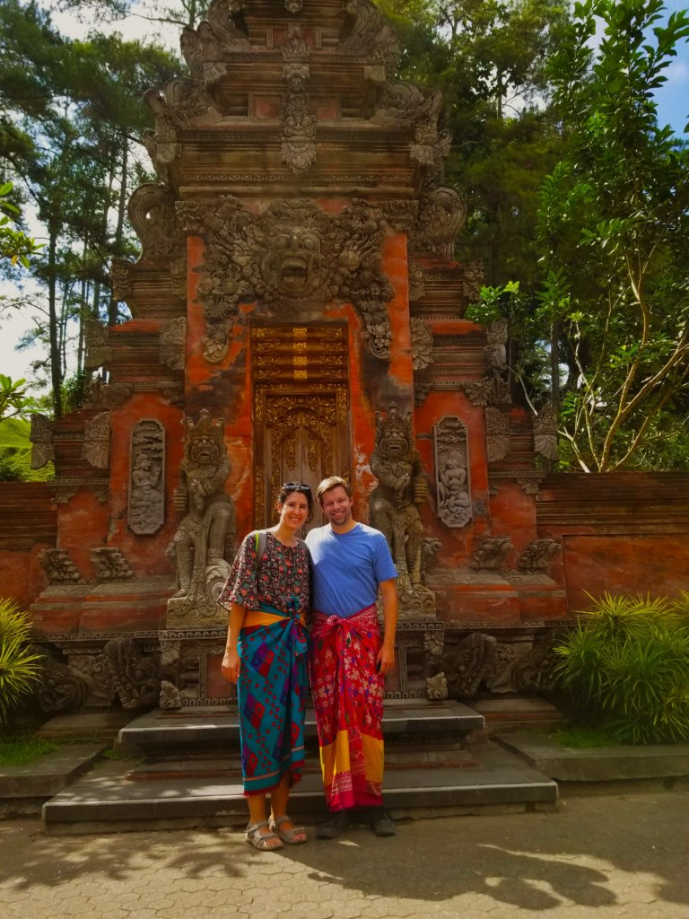 Two people in sarongs at the Balinese water temple