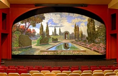 A view of the stage at the Bicentennial Theatre. The painting is by William Gill, and is one of the last surviving pieces of landscape stage art in use.