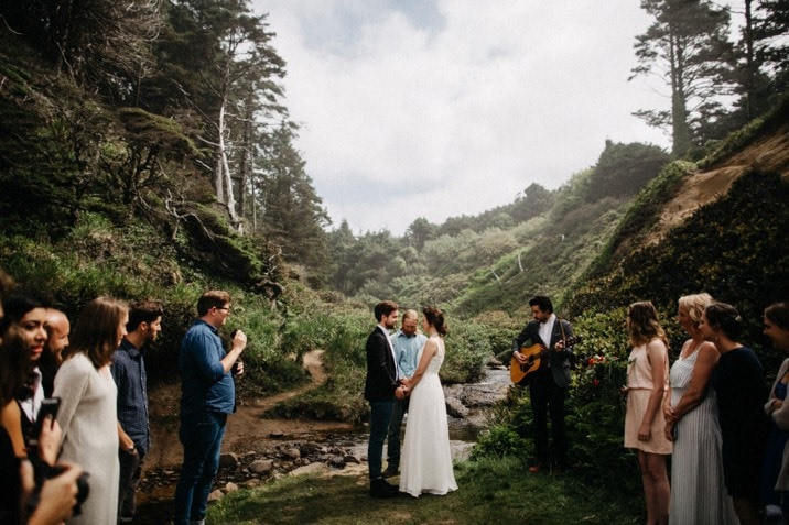 intimate oregon coast wedding photo
