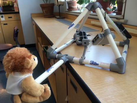 "Stuffed Astroleo mounted on ""selfie stick""."