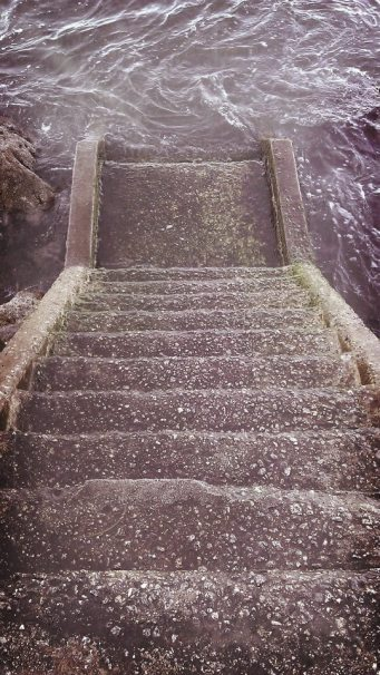 Steps into the ocean