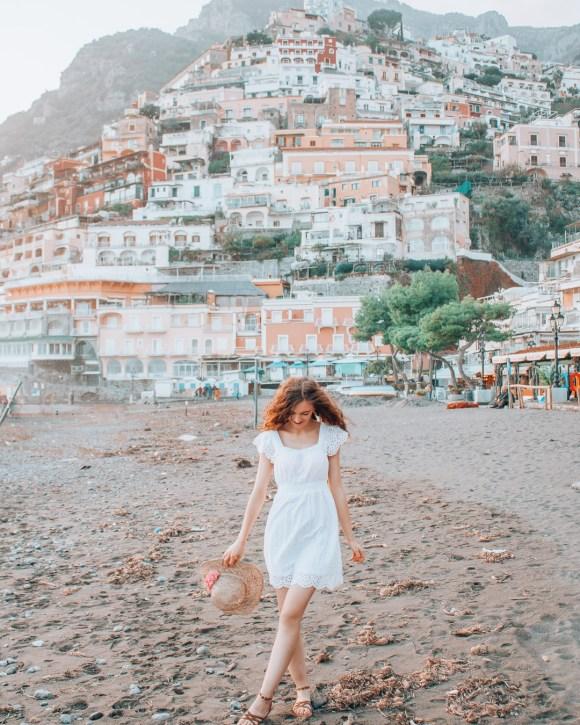 Girl on the beach in Positano