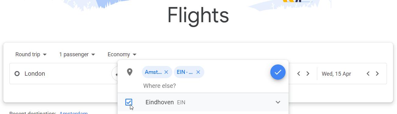 Choosing Eindhoven Airport as destination in Google Flights