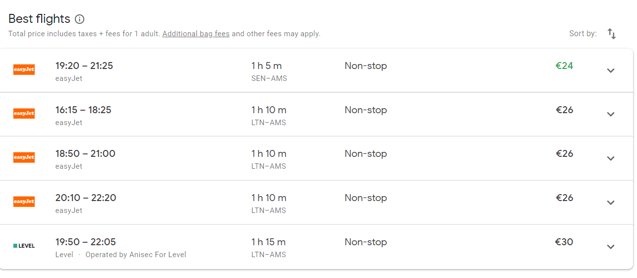 Google flights list of flights