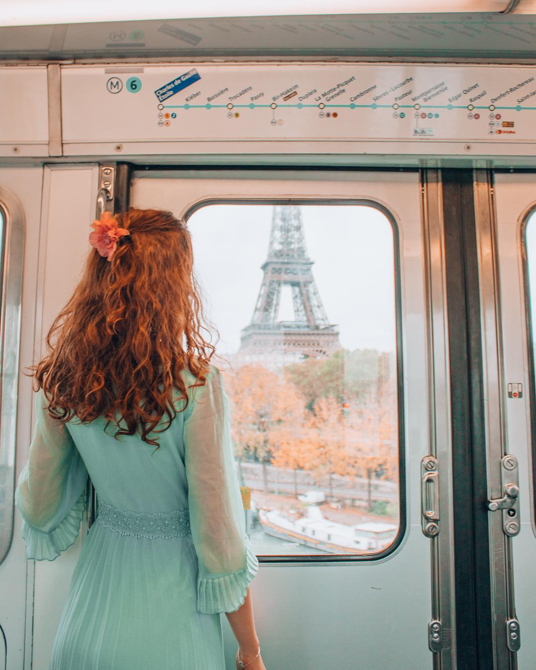 Girl in metro in Paris