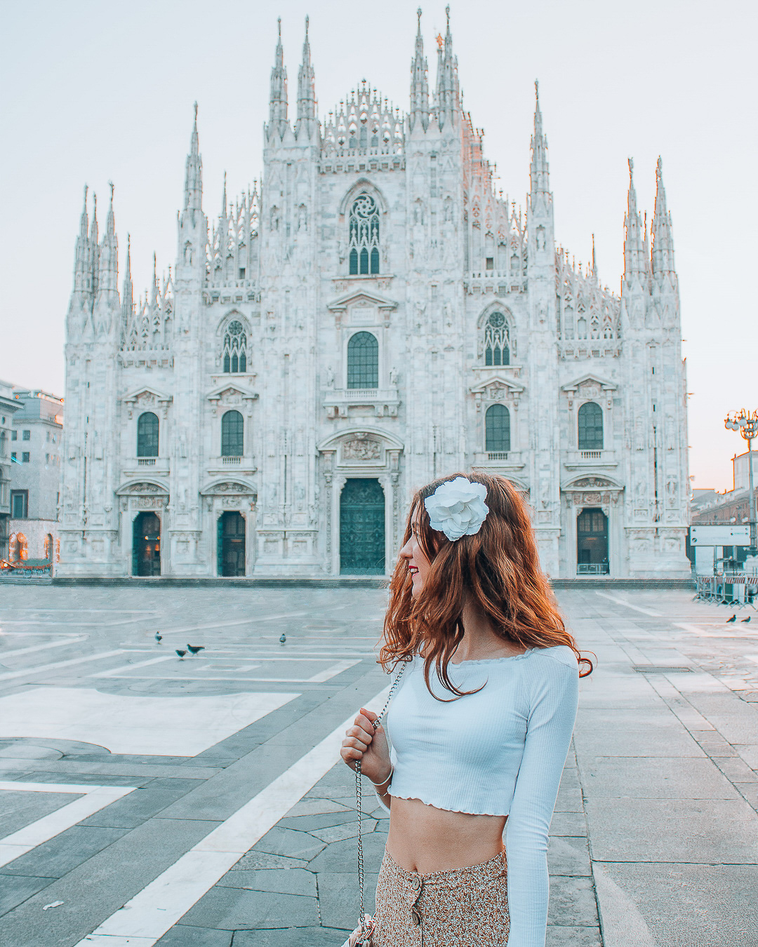 Girl in Milan in front of Milan Cathedral