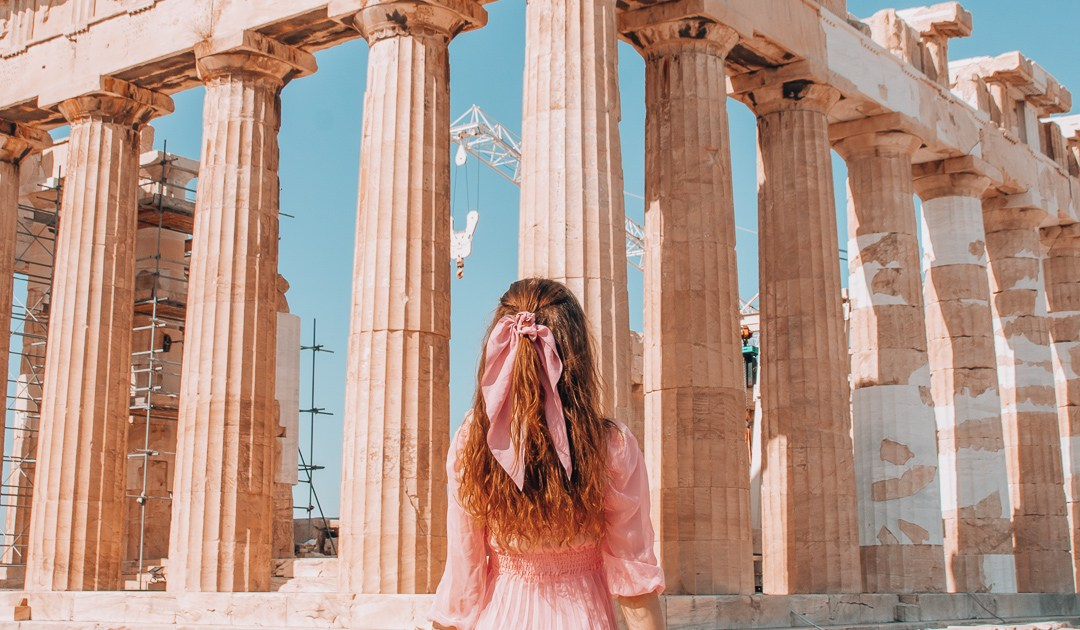 Girl in pink dress at the Acropolis