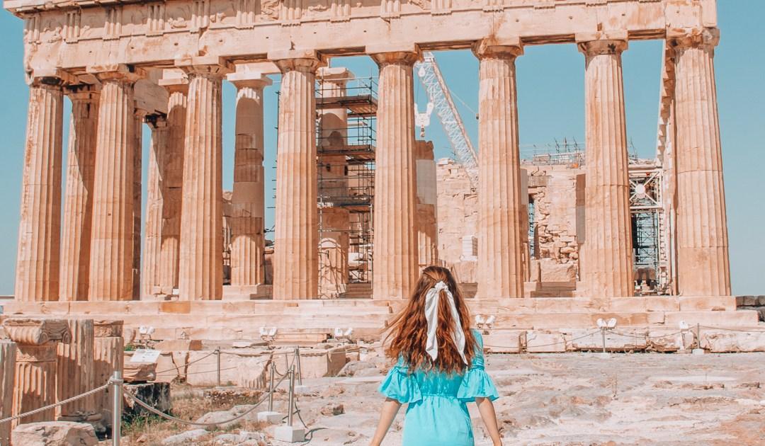 Girl walking towards the Parthenon