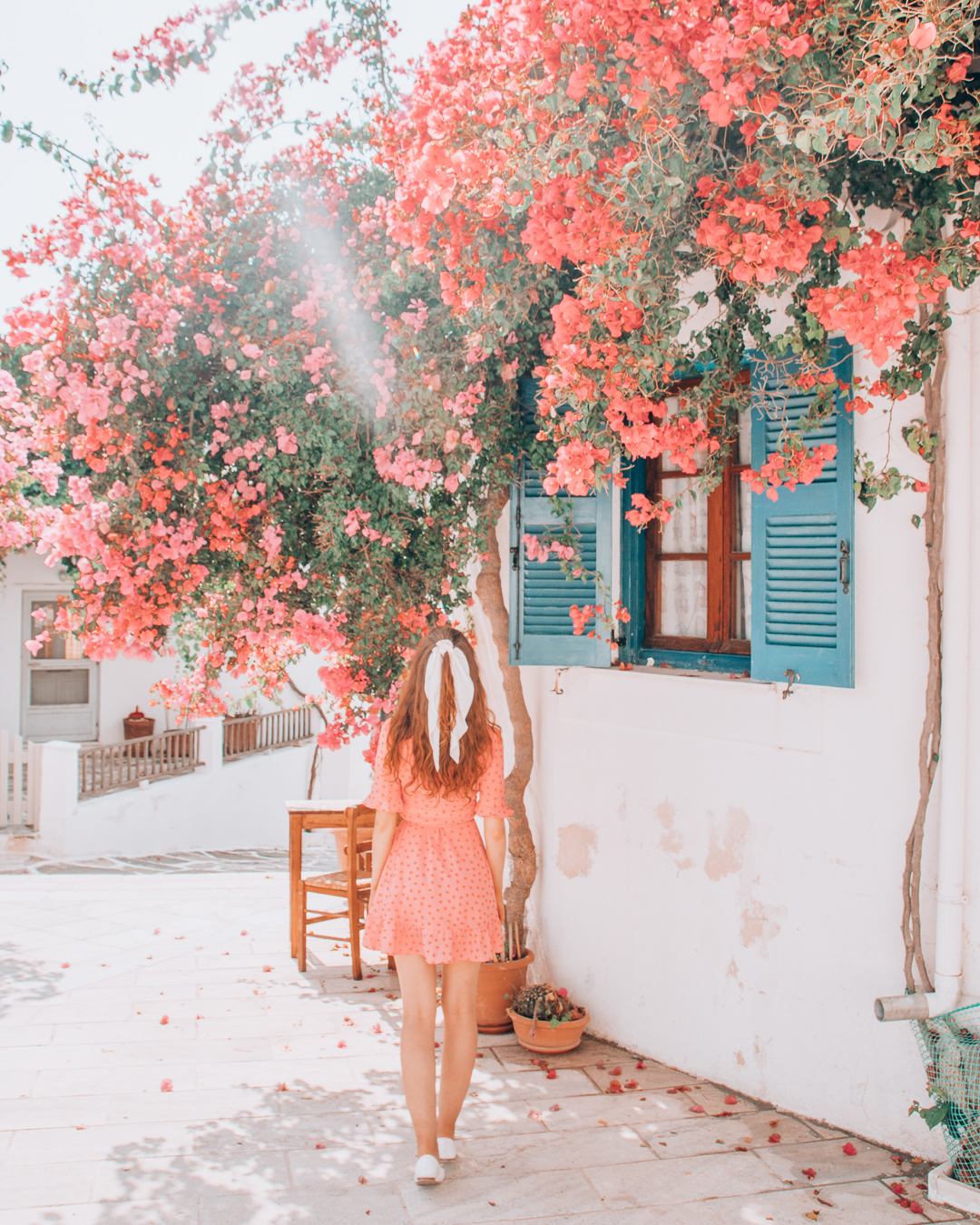 Girl with flowers in Paros