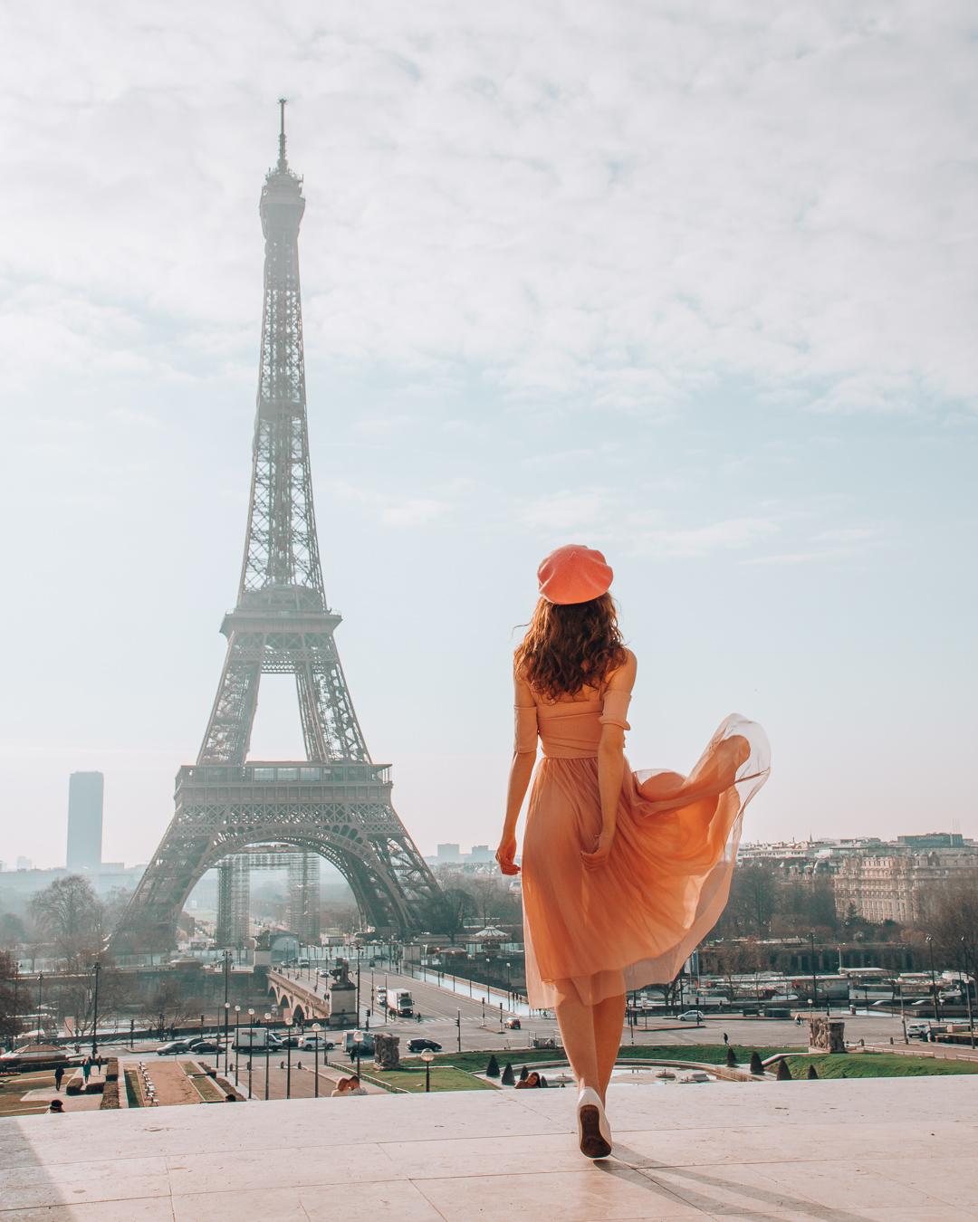 Girl at Trocadéro walking to the Eiffel Tower