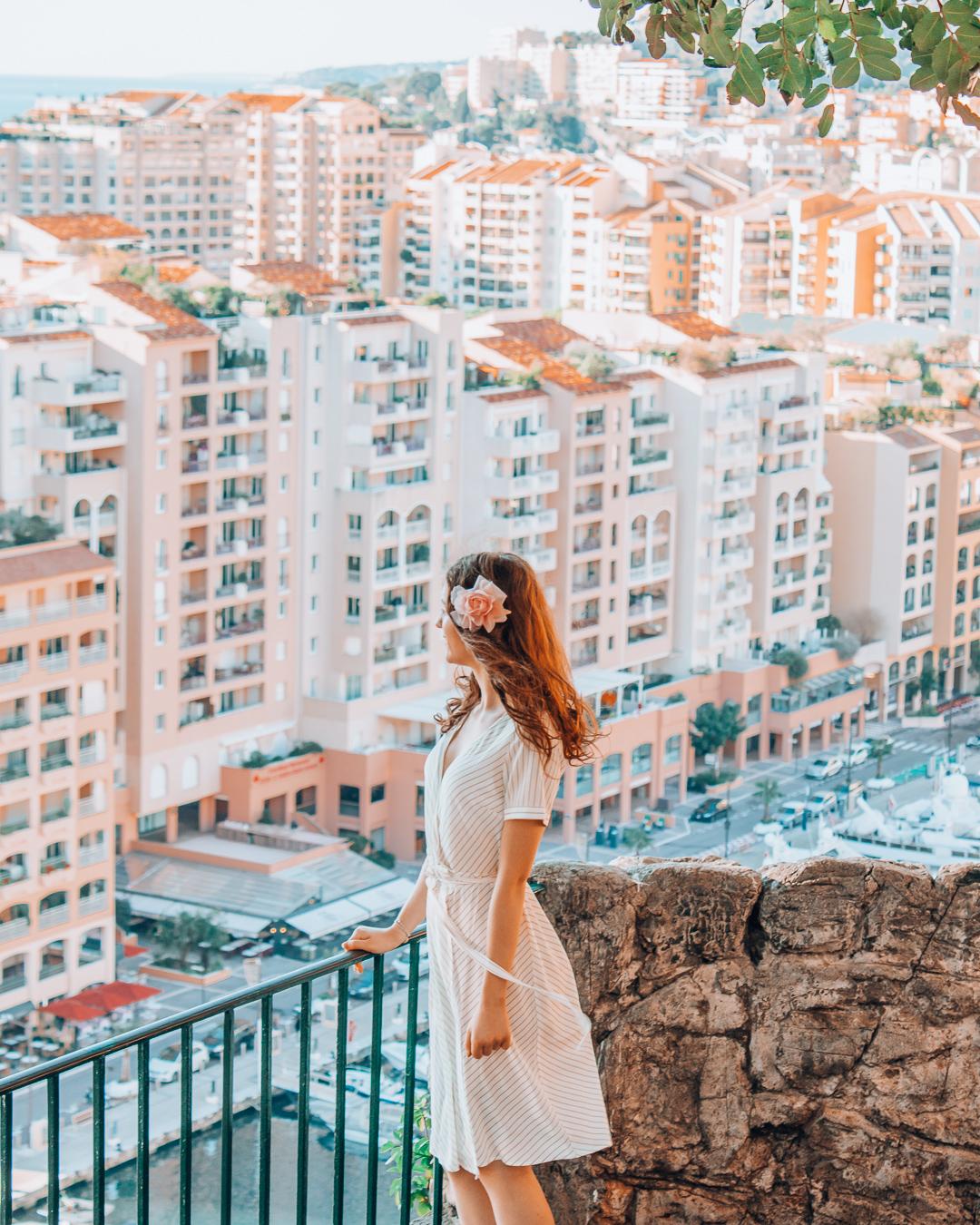 Girl looking at buildings