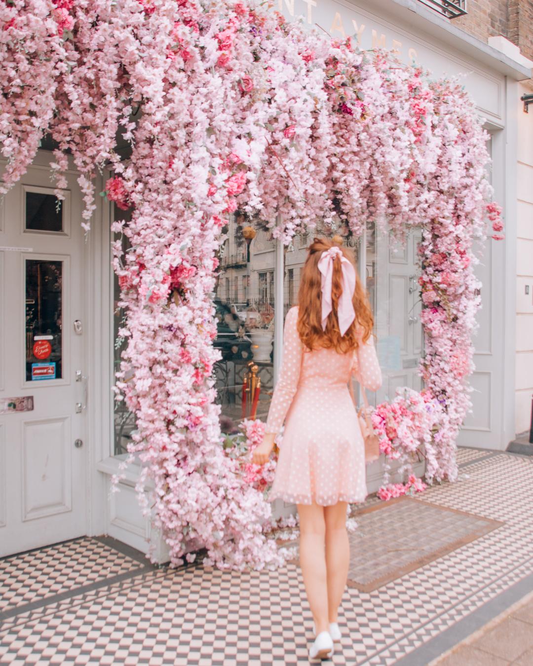 Pink flowers on display of Saint Aymes