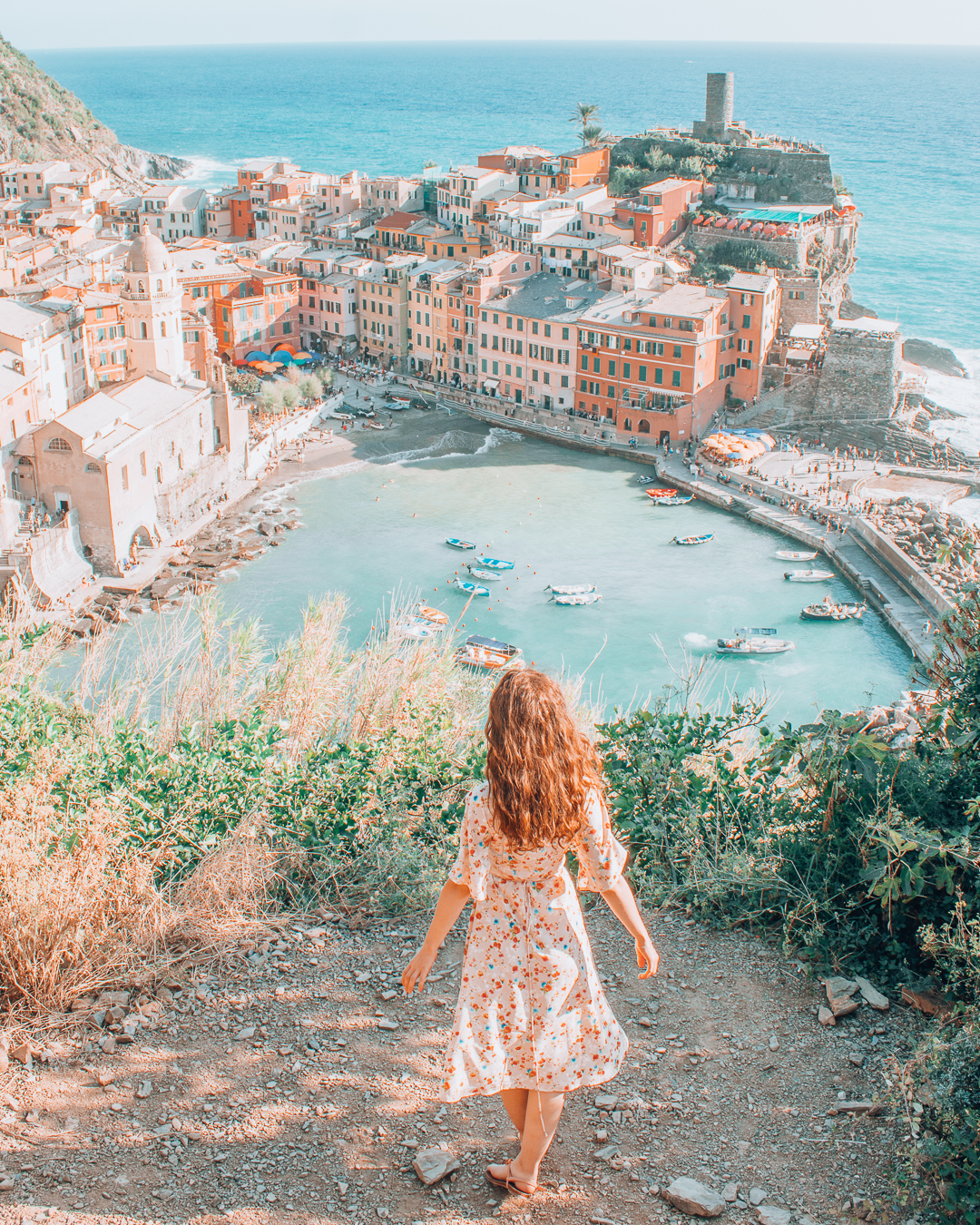 Girl looking at view in Vernazza