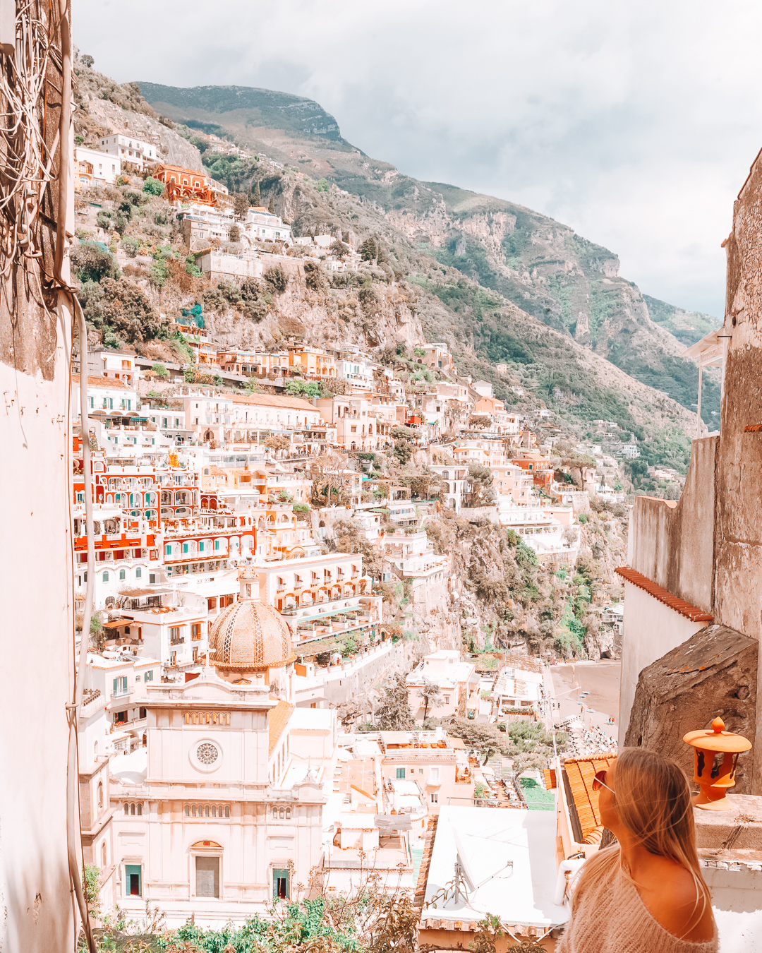 Houses, church and hills in Positano