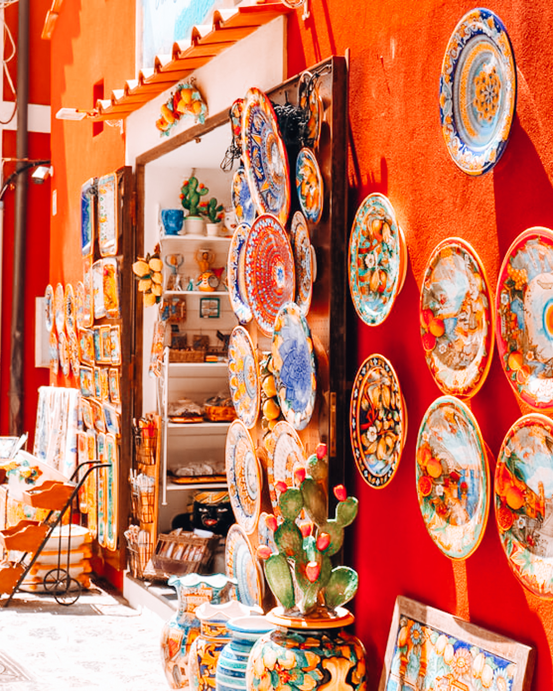 Shop with orange wall and souvenirs