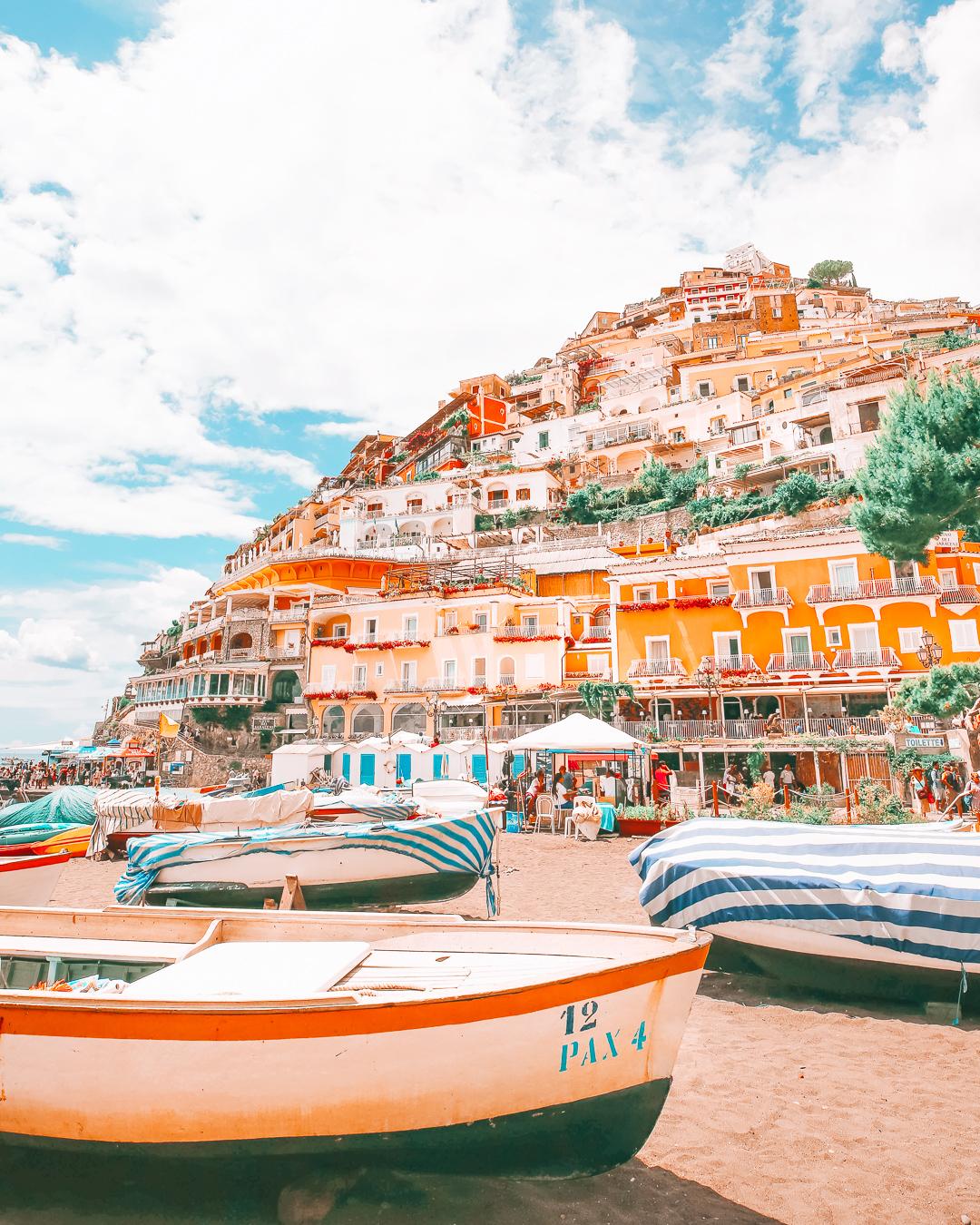 Boats on beach of Positano