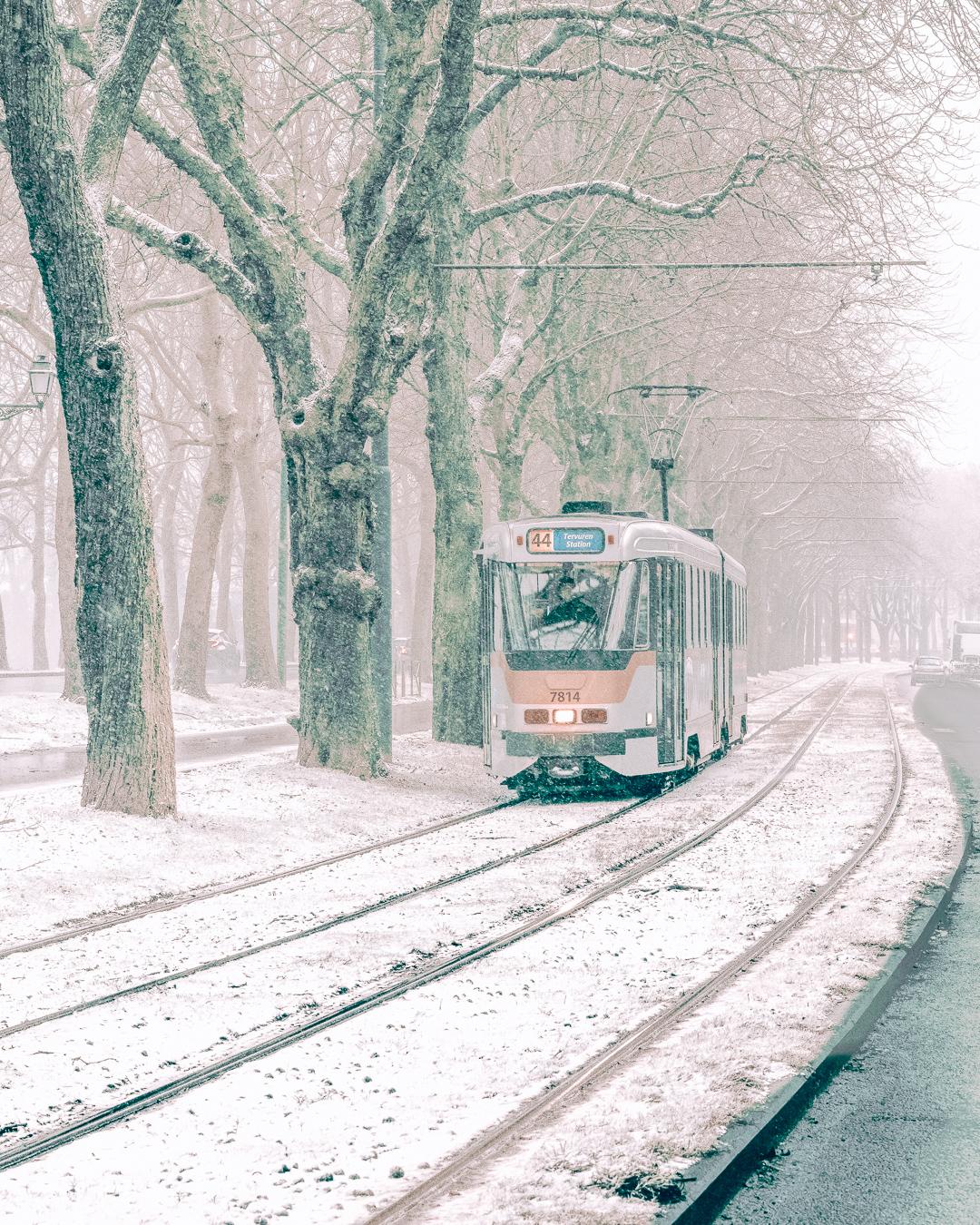 A tram in Belgium in winter