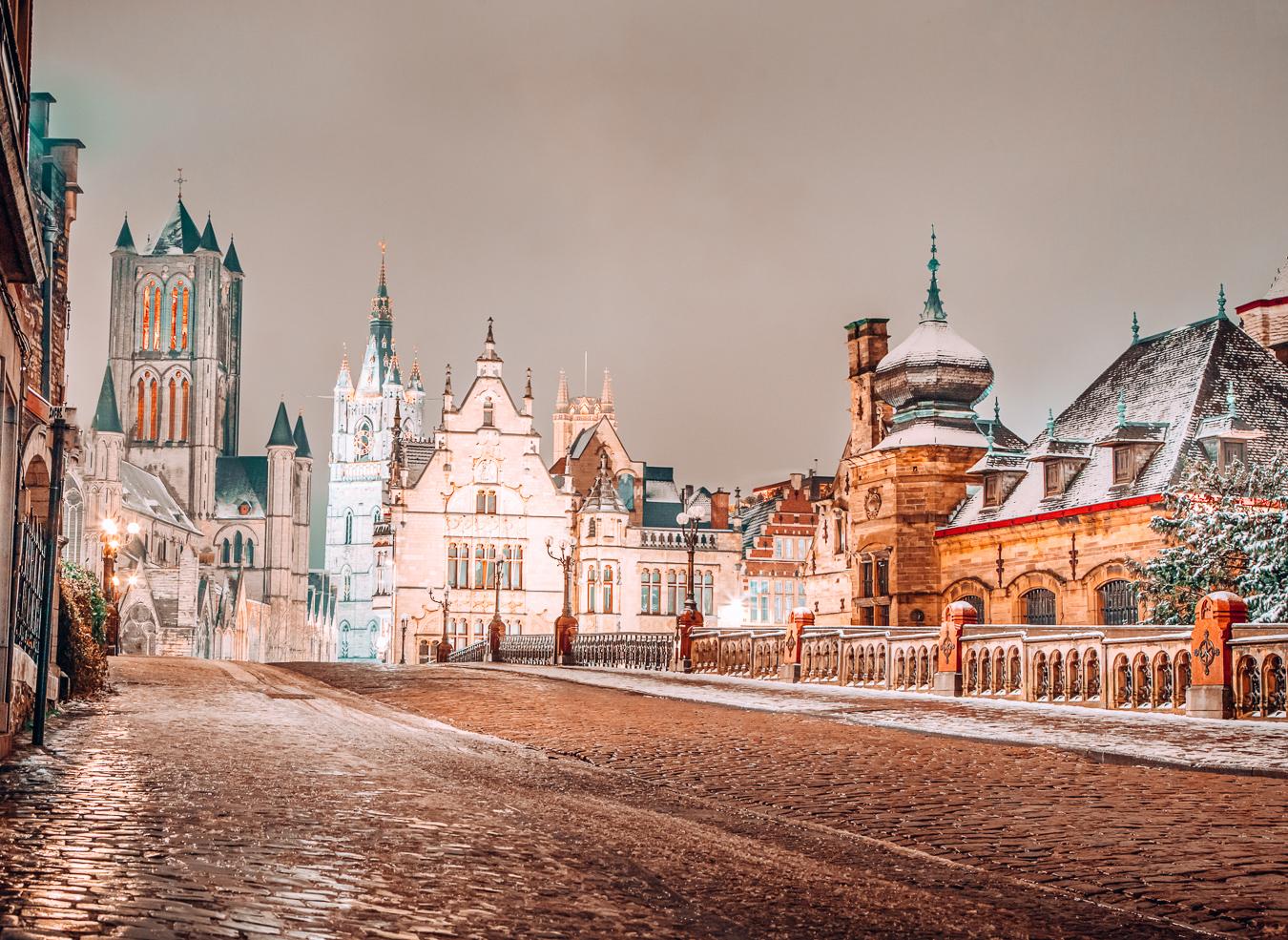 Buildings at night during winter in Belgium