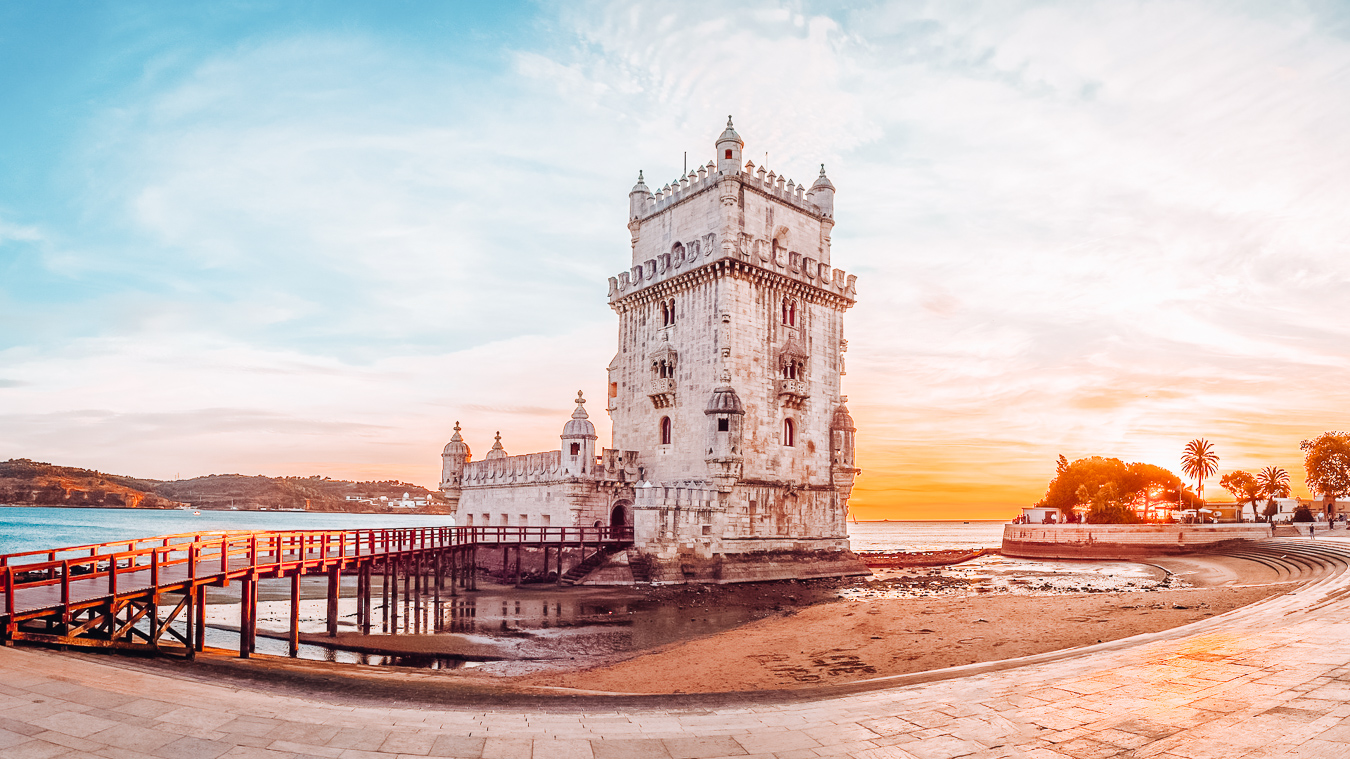 A beautiful view of the Belém Tower in the city of Lisbon