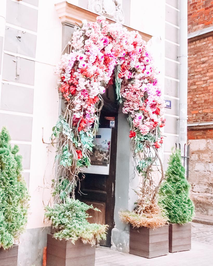Flowers and a door