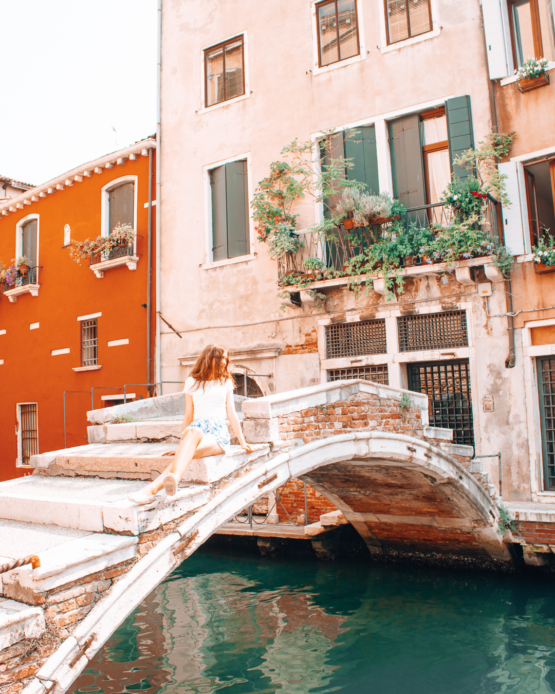 A bridge and colorful buildings in Venice