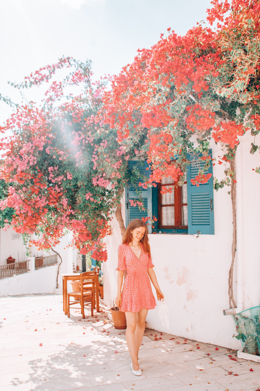 Building with flowers in Paros