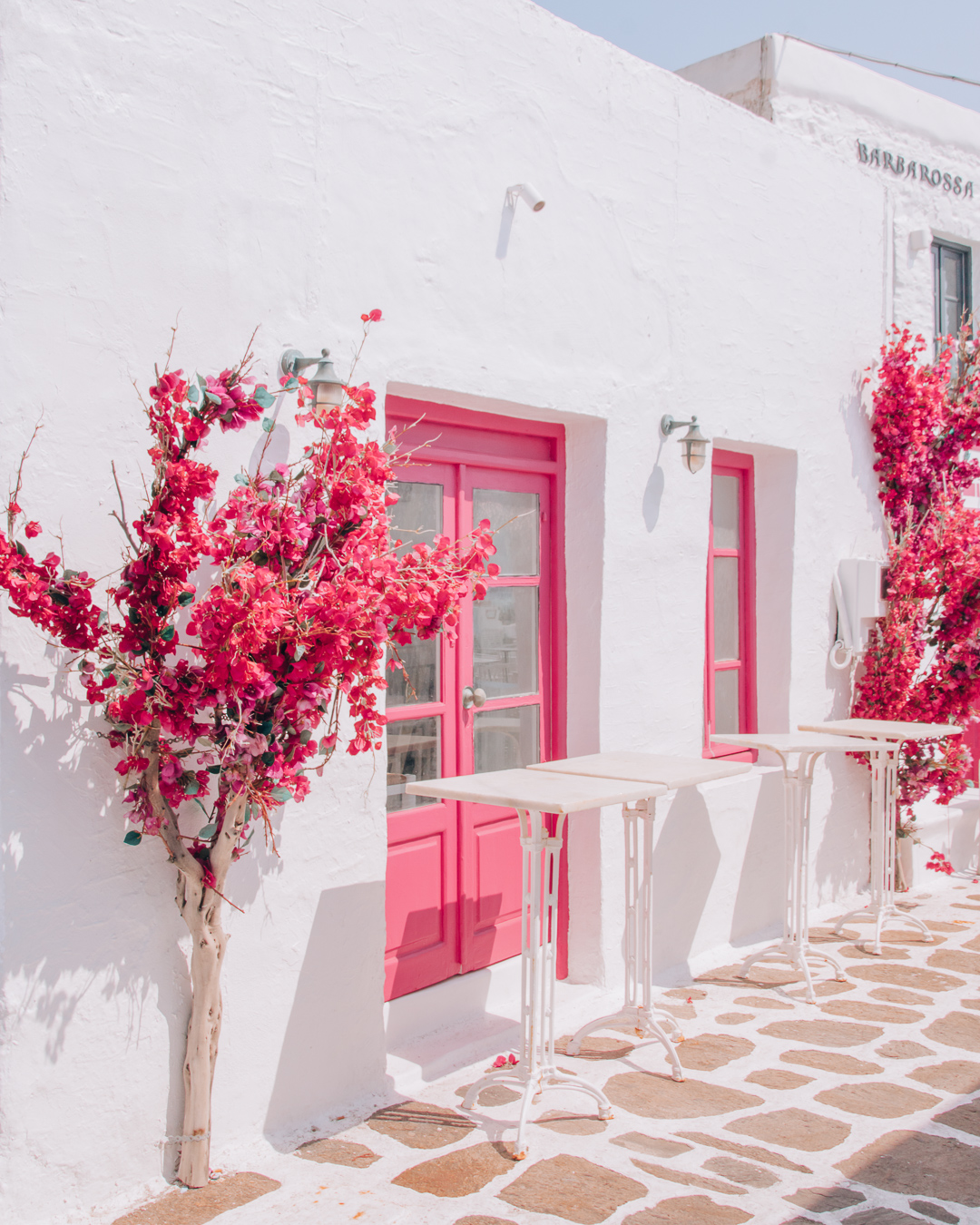 A bar with flowers in Paros