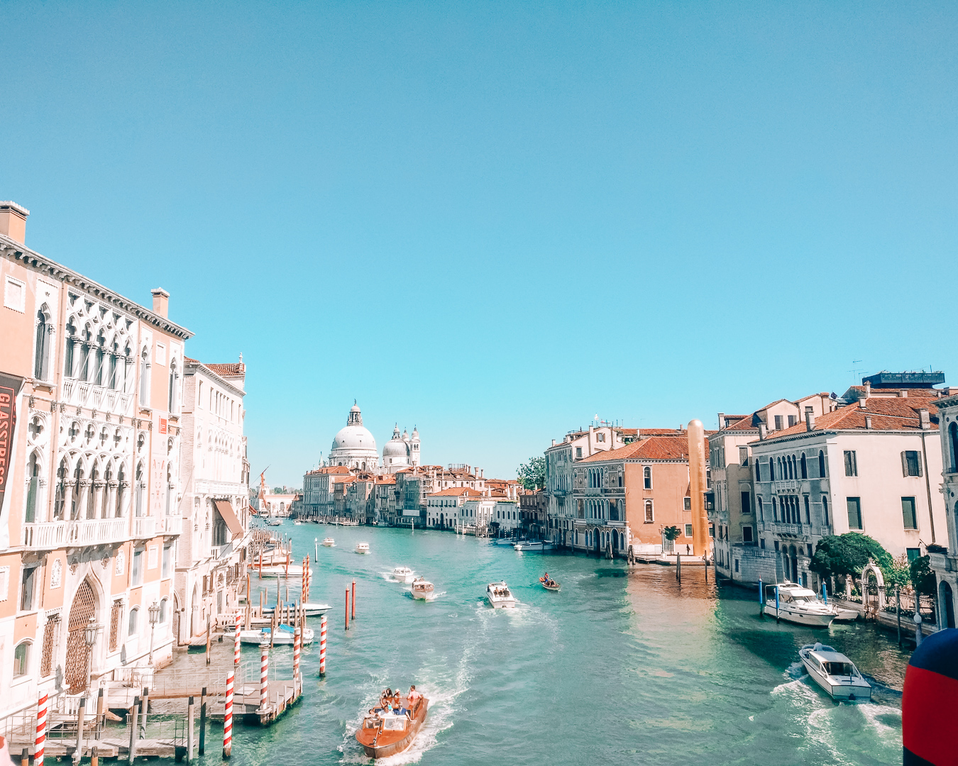 View the Grand Canal and buildings in Venice