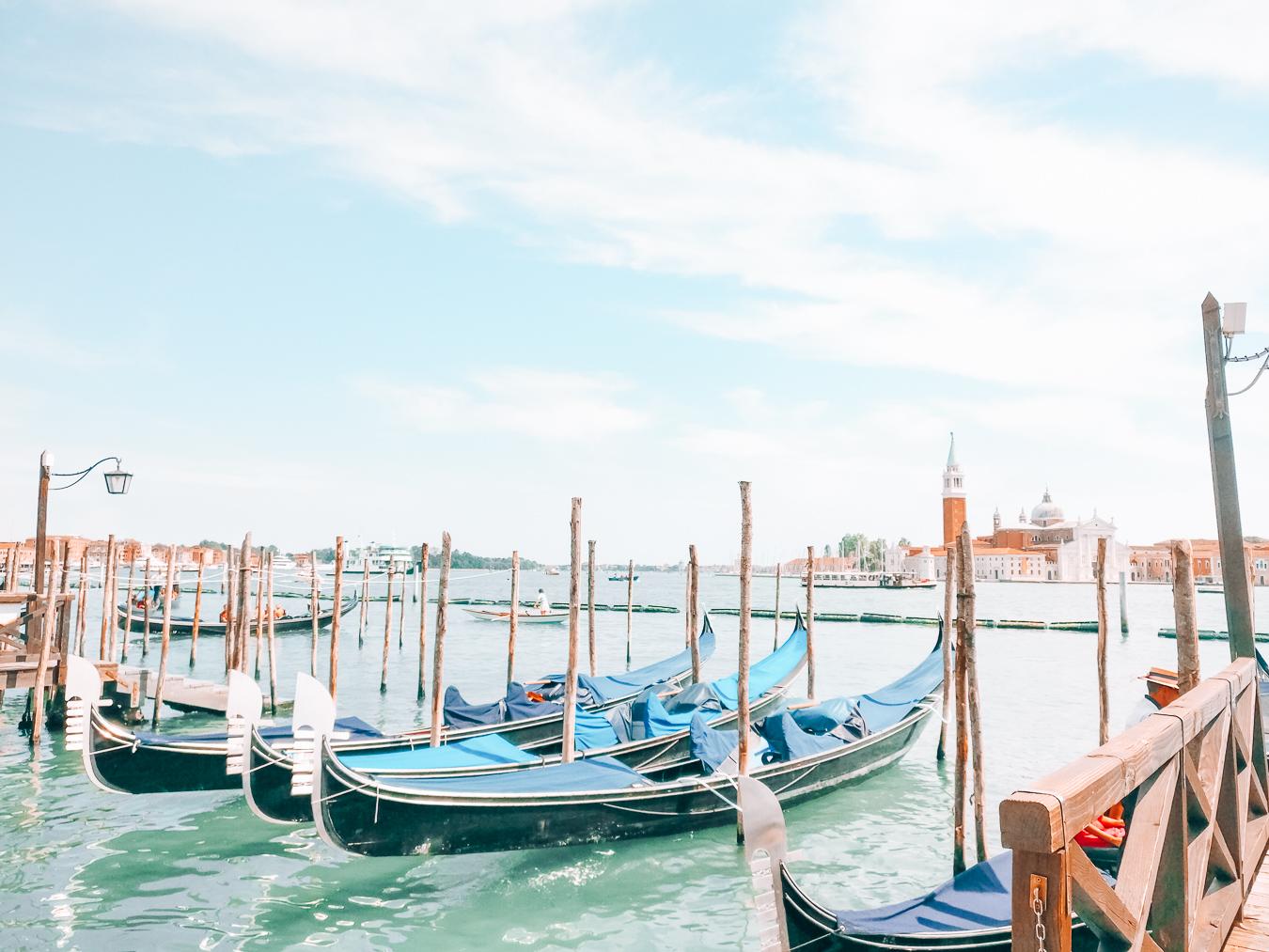 Several gondolas in Venice