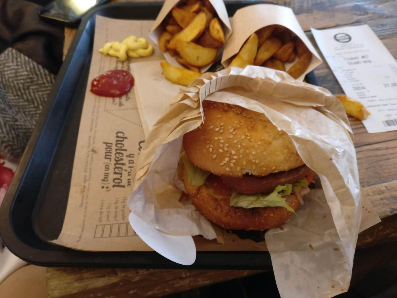 Vegan burger and potatoes