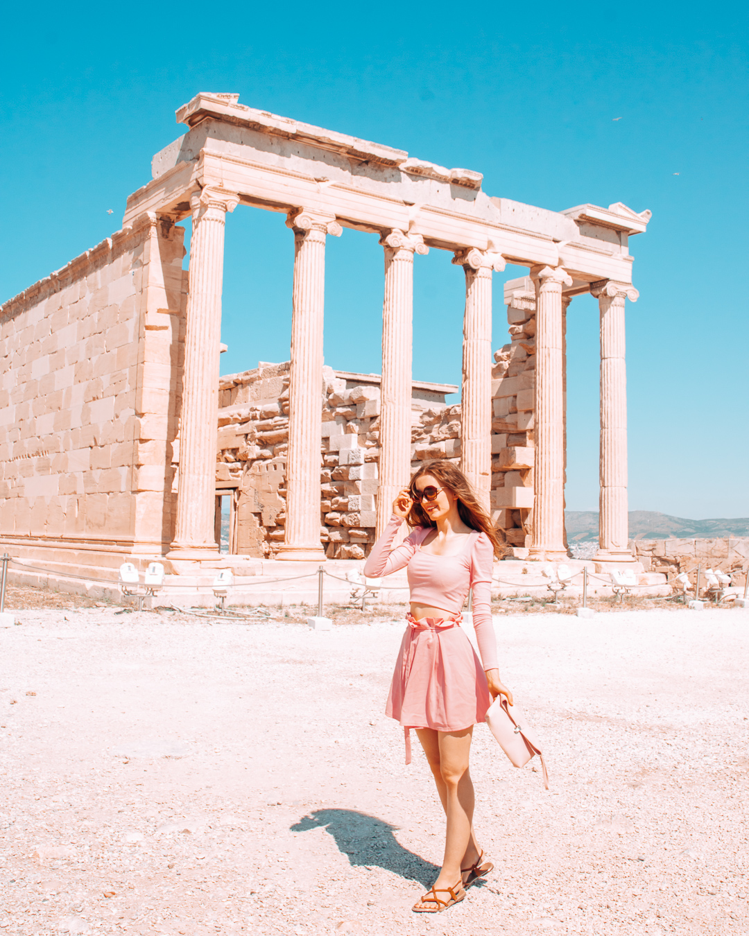 Girl with sunglasses at the Acropolis