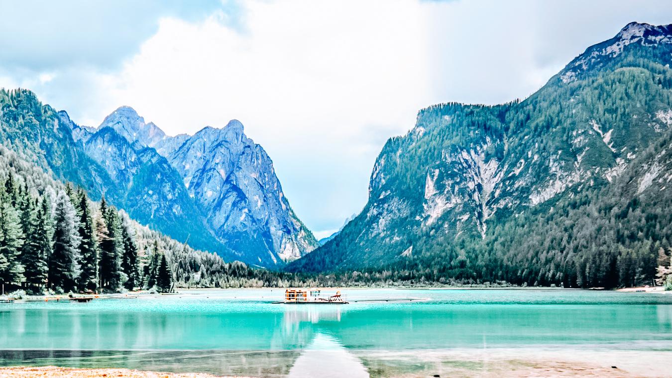 Lake Dobbiaco in summer