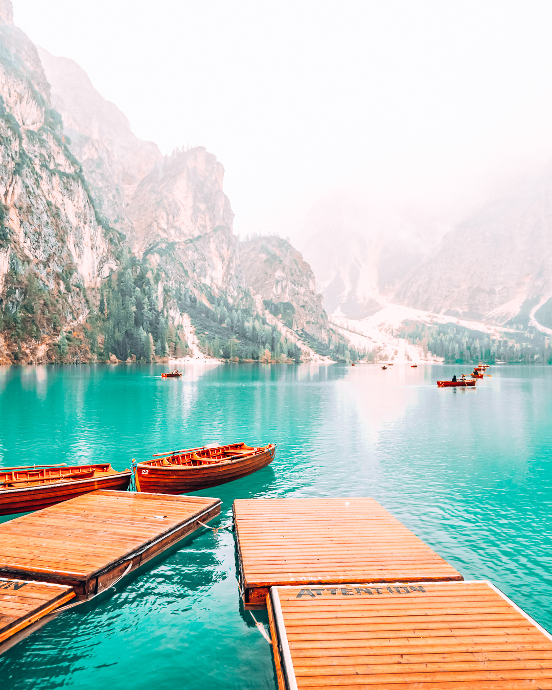 View of one of the lakes in the Dolomites