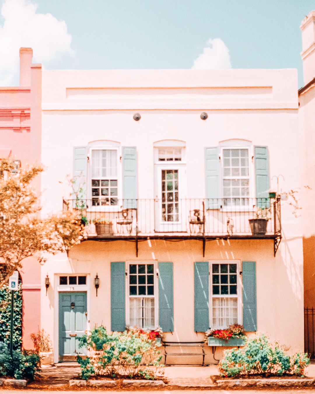 Colorful house in Rainbow Row in Charleston