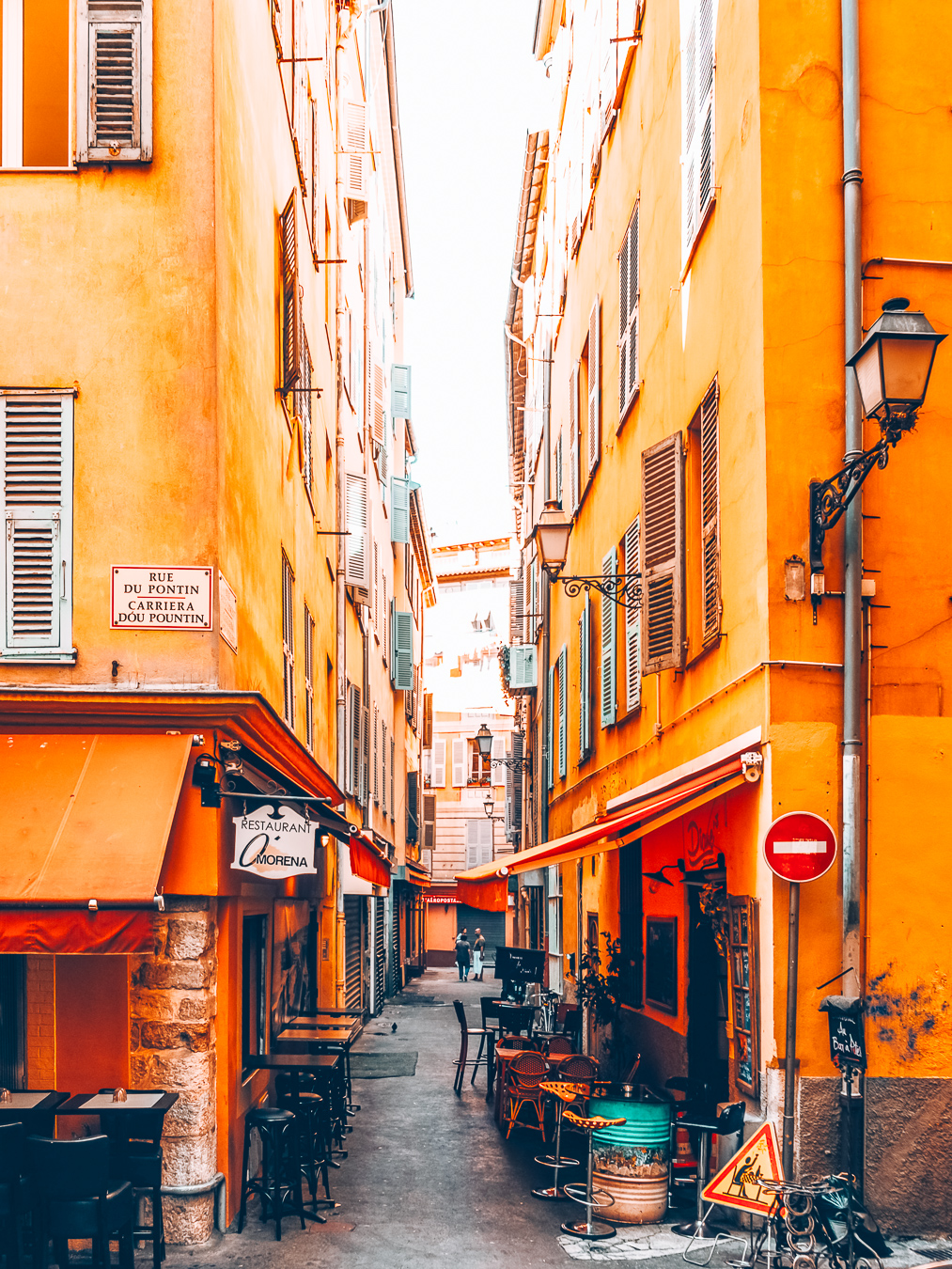 A beautiful yellow street in the city of Nice in Europe