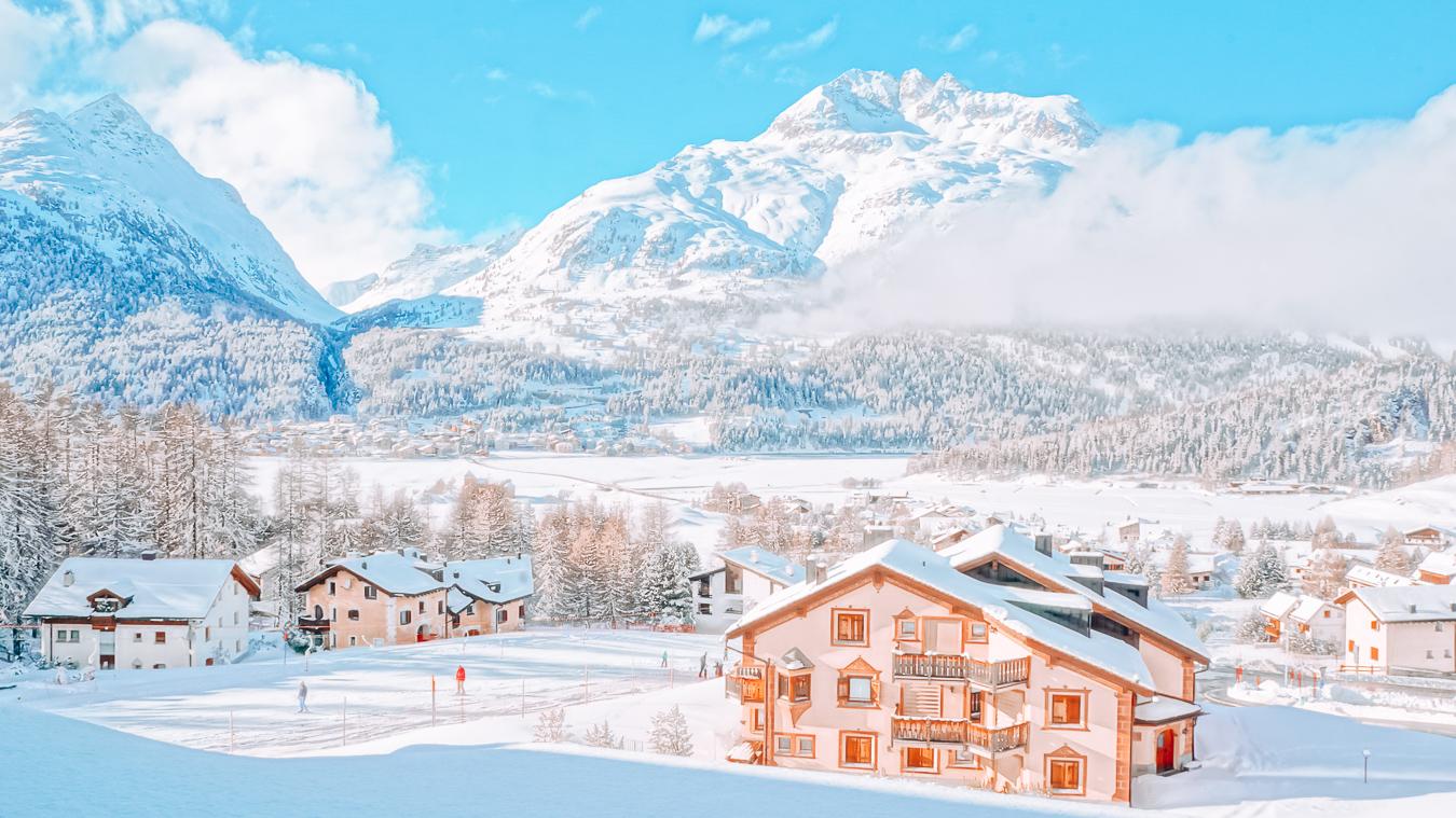 Buildings and snow in Zermatt