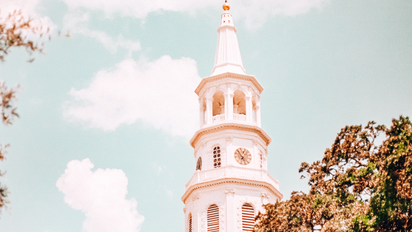 St. Philip's Church and trees in Charleston