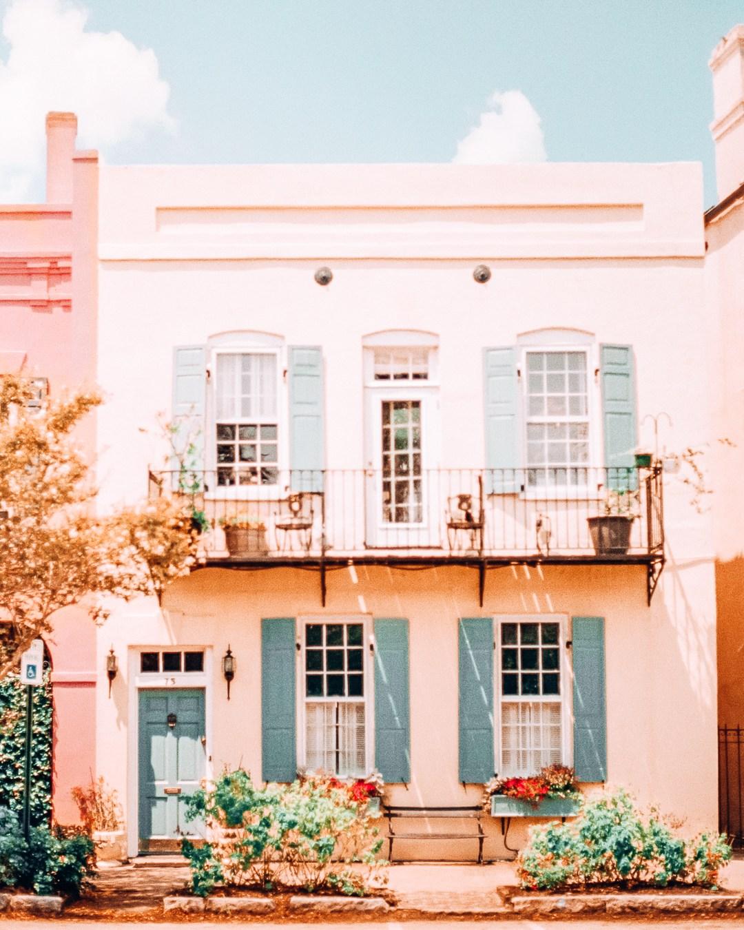 Photogenic house of Rainbow Row in Charleston