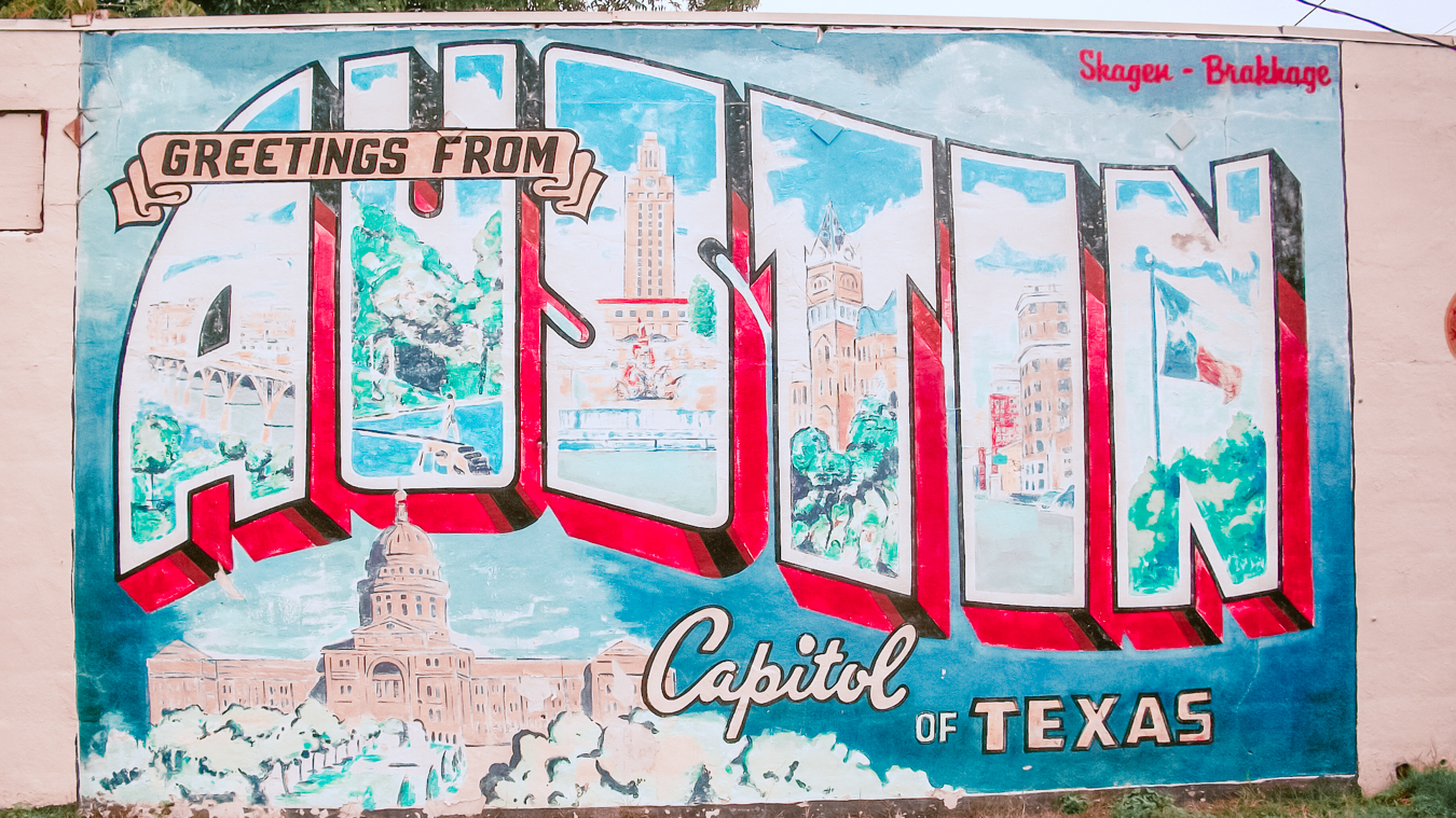 "The Instagrammable ""Greetings From Austin"" Mural"