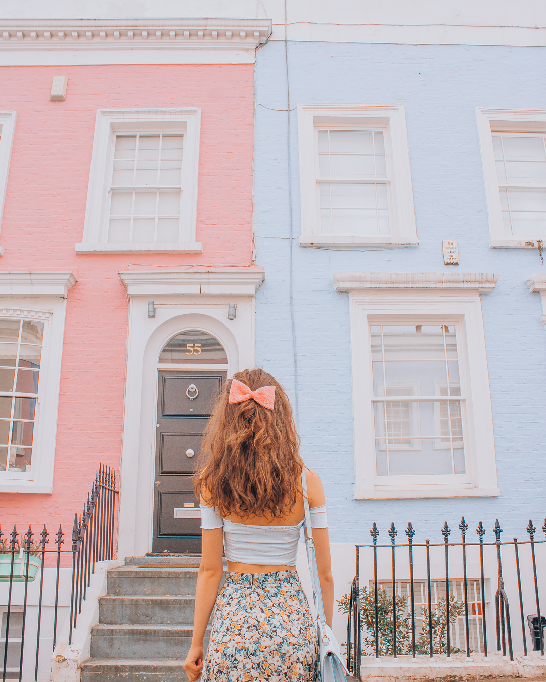 Pink and blue houses in London