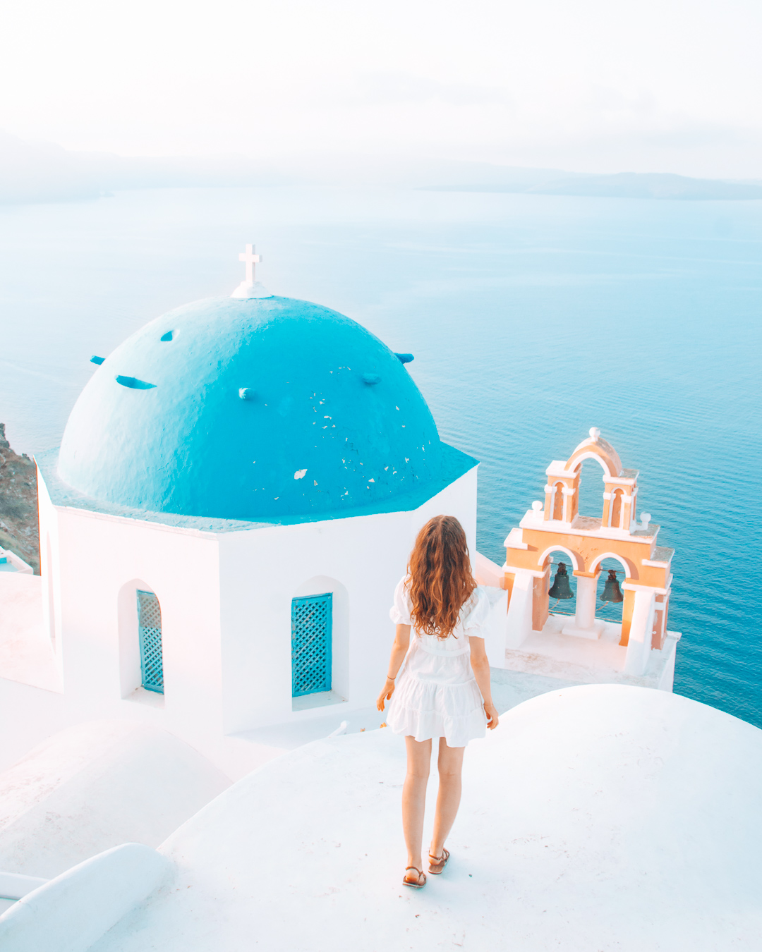 Blue dome and a view of the sea