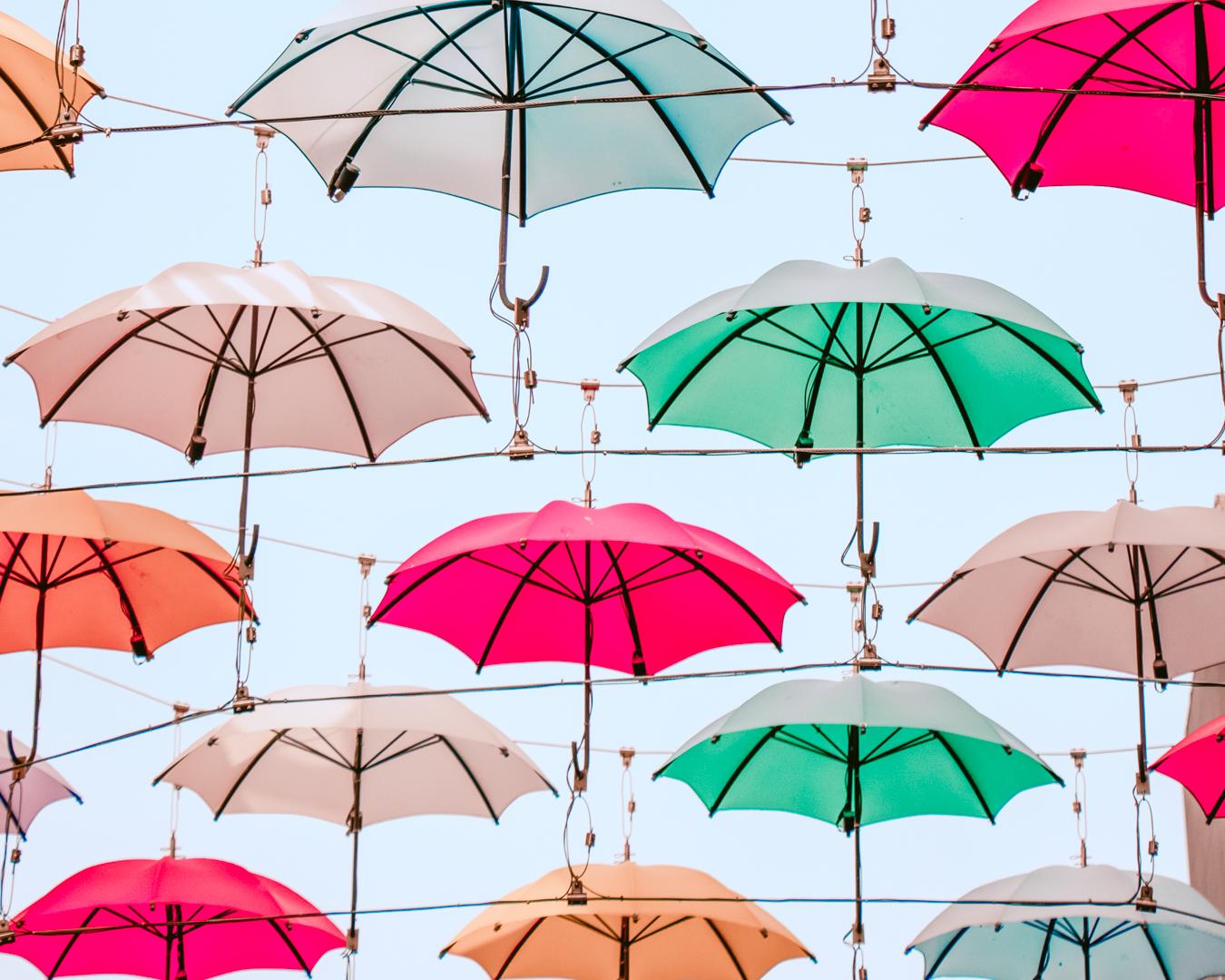 Instagrammable umbrellas at Annes Lane Dental in Dublin