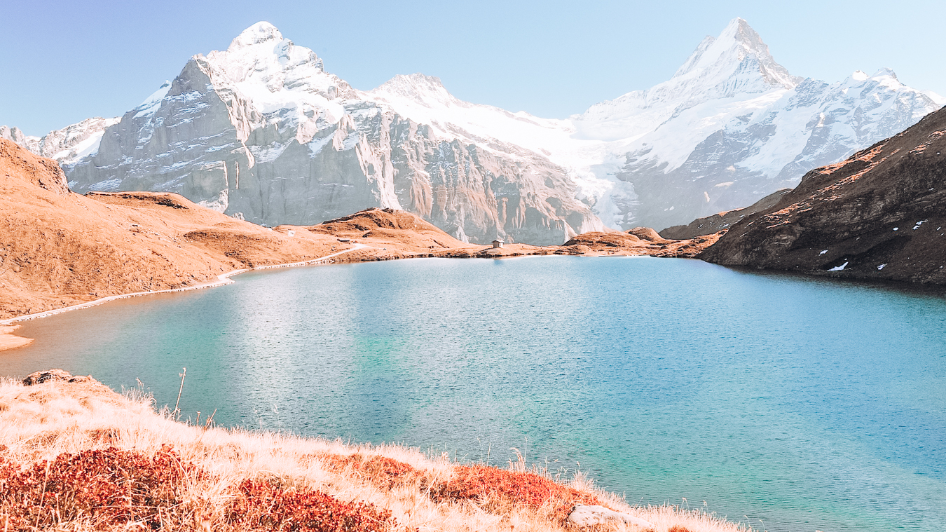Water and mountains at Bachalpsee in Switzerland