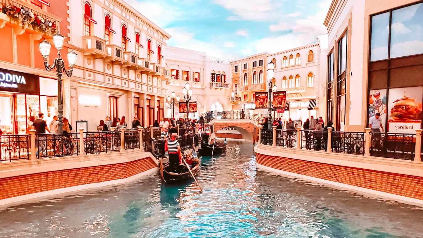 An Instagrammable gondola at the Venetian Resort Las Vegas