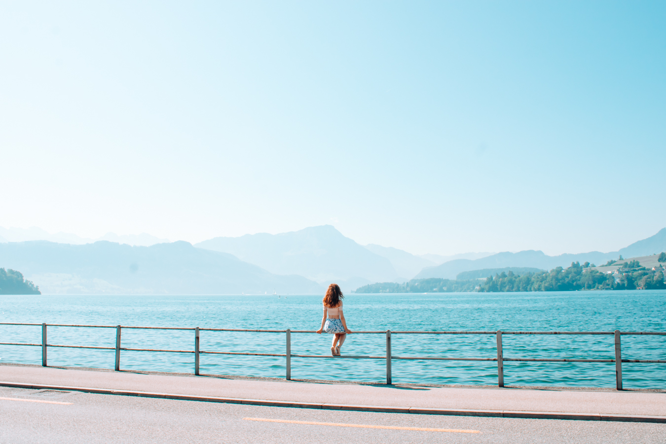 Beautiful blue water at Lake Lucerne in Switzerland